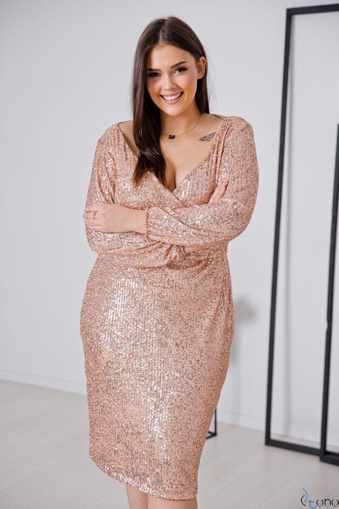 Beżowa Sukienka FUERA Plus Size