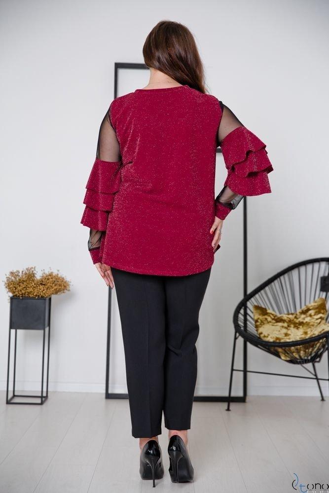 Bordowa Bluzka CATANIA Plus Size