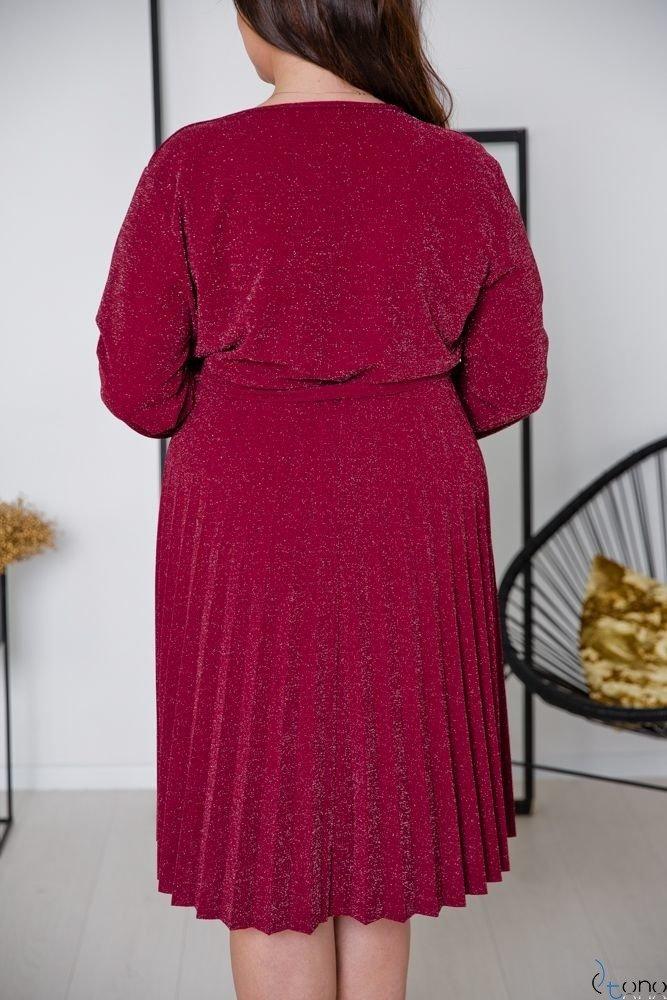 Bordowa Sukienka FELICE Plus Size