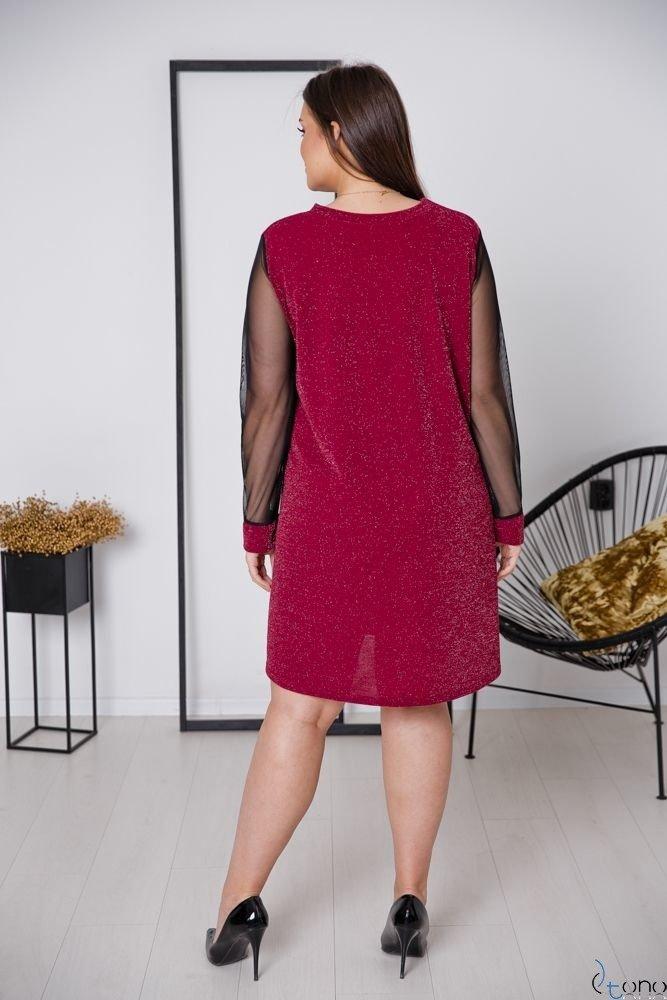Bordowa Sukienka LETICIA Plus Size