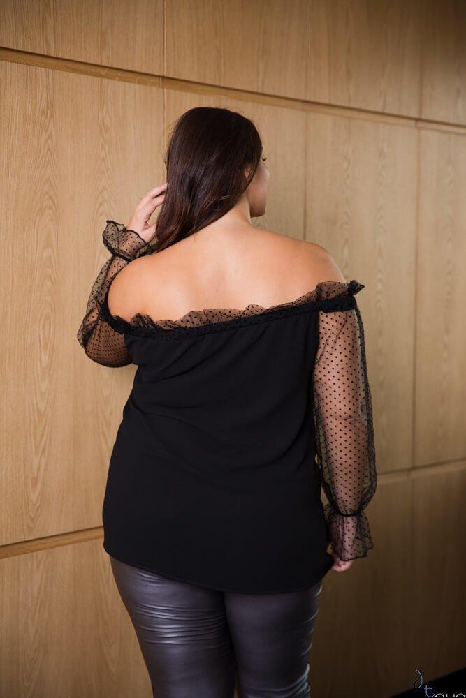 Czarna Bluzka TERIZA Hiszpanka Plus Size