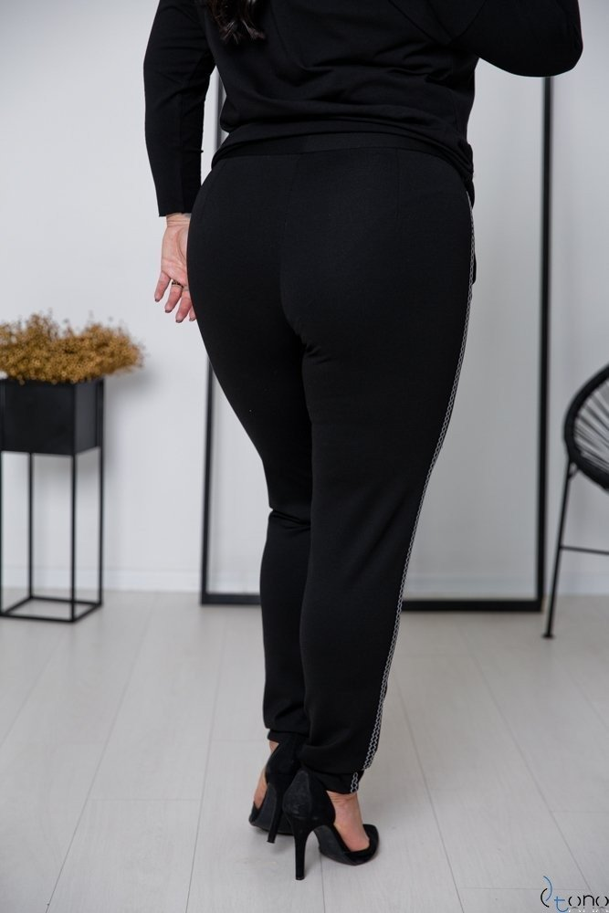 Czarno-Białe Spodnie RIGES Plus Size