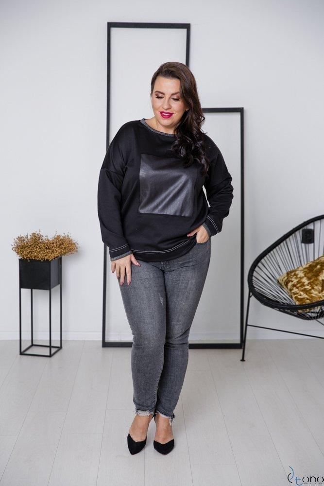 Czarno-Srebrna Bluza VISION Plus Size