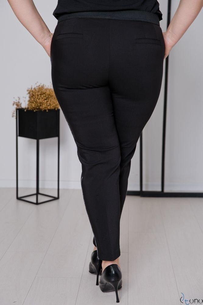 Czarno-Srebrne Spodnie SHILOW Plus Size Wzór