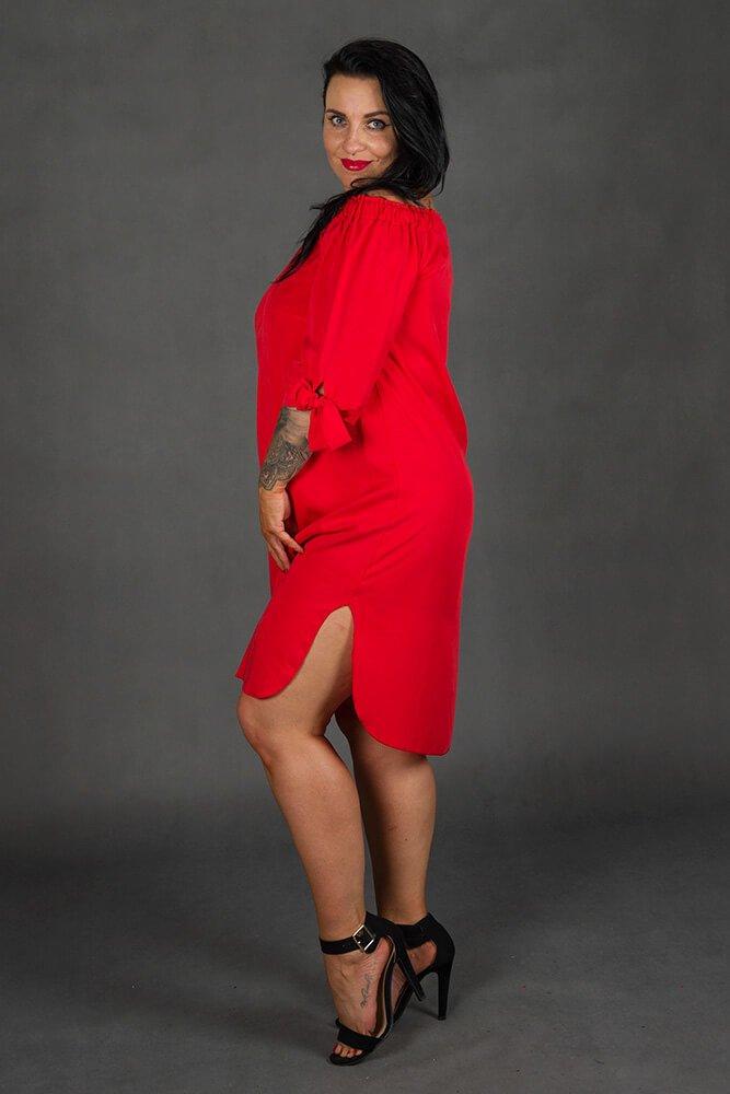 Czerwona Sukienka VALENCIA Plus Size