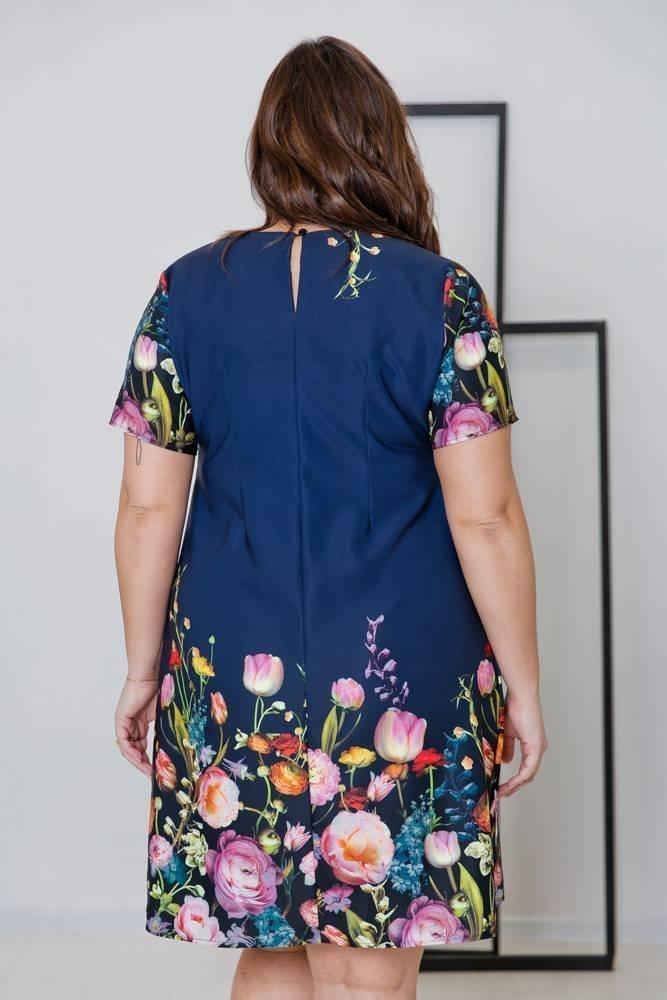 Granatowa Sukienka GERDA Plus Size