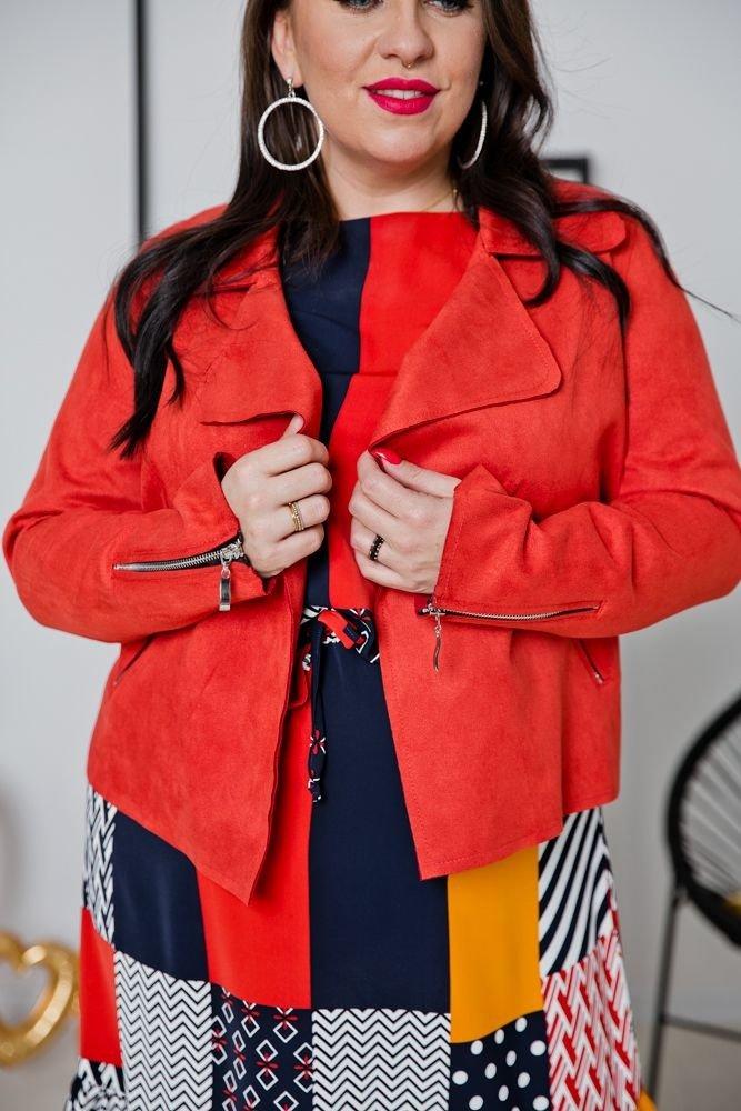 Pomarańczowy Żakiet MODALIA Plus Size