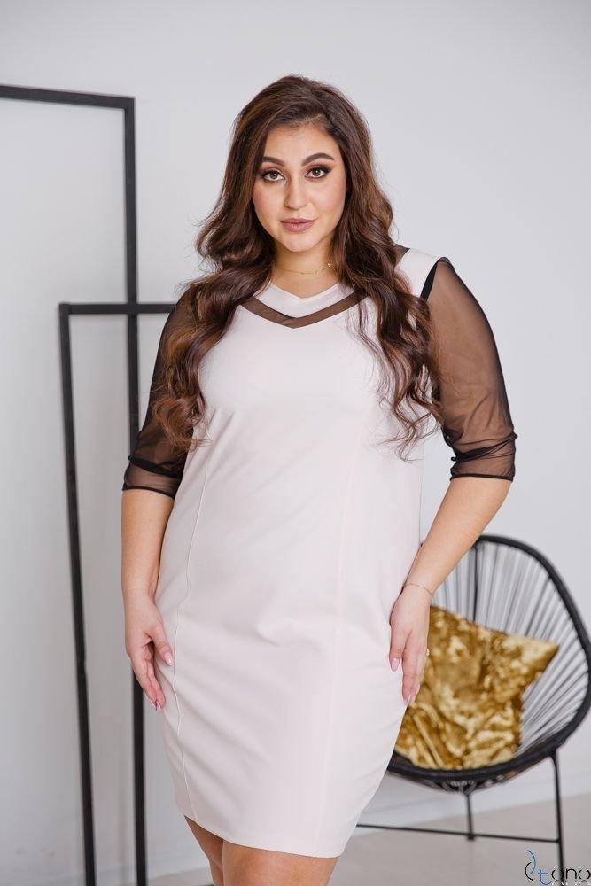 Pudrowo różowa Sukienka AUGURA Plus Size