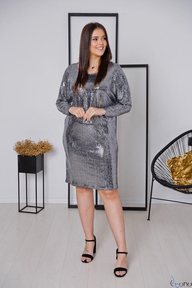 Srebrna Sukienka ROYAL Plus Size