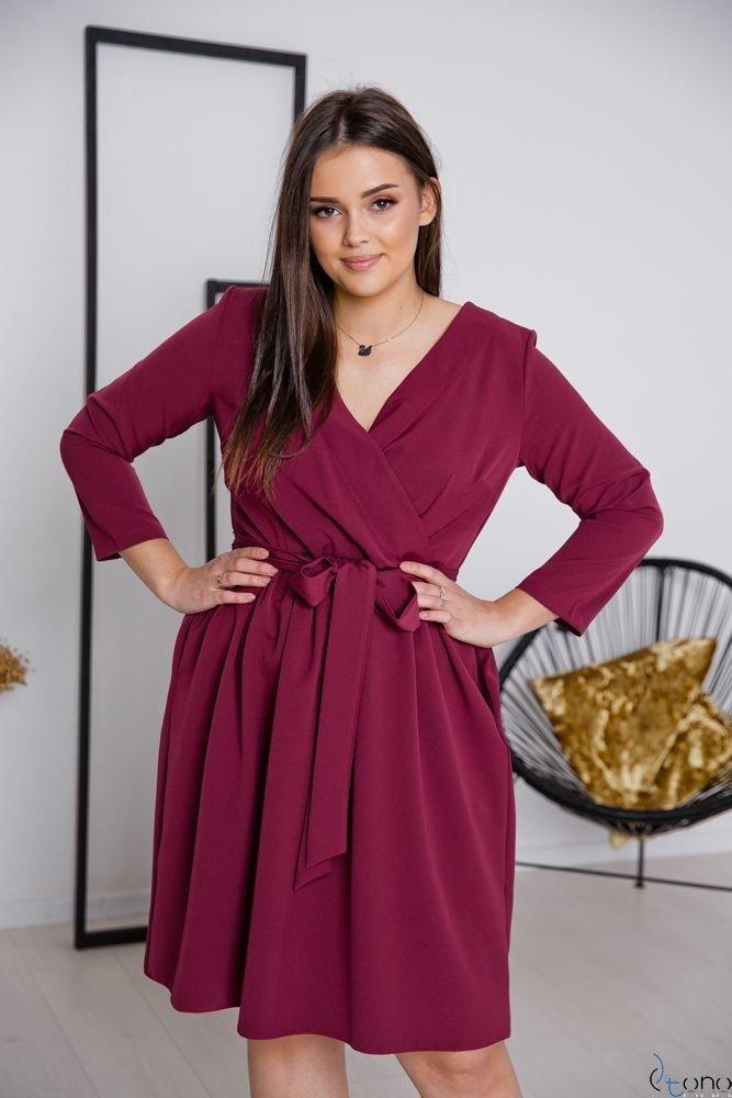 Bordowa Sukienka MAKAN Plus Size