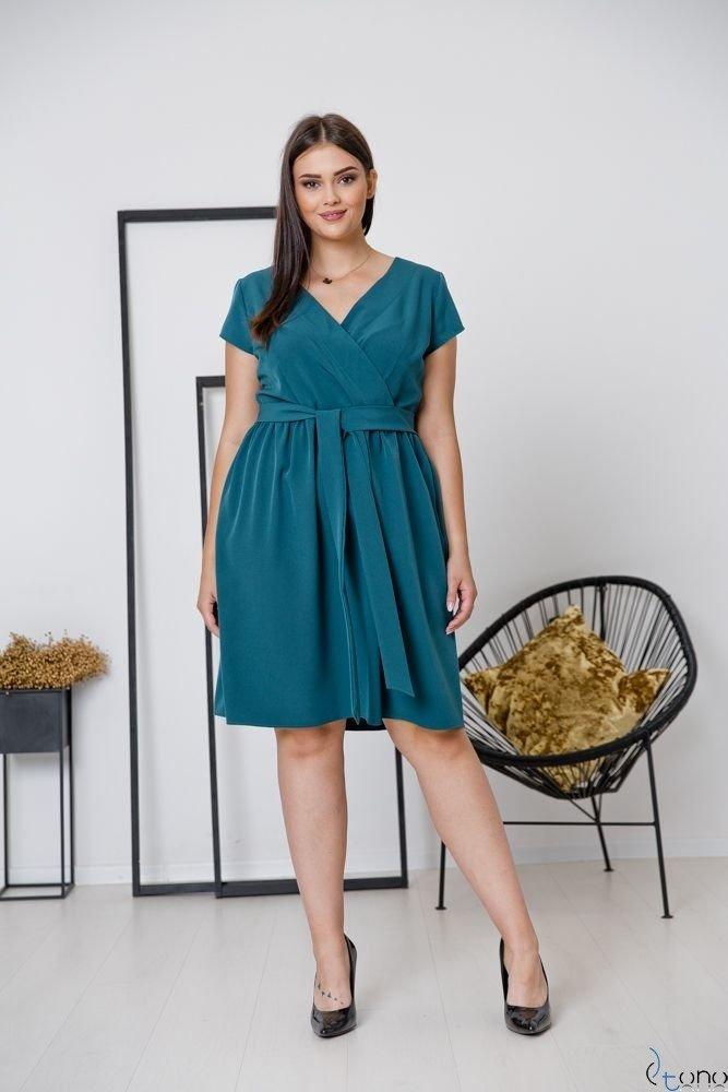 Butelkowo zielona Sukienka MACARIS Plus Size
