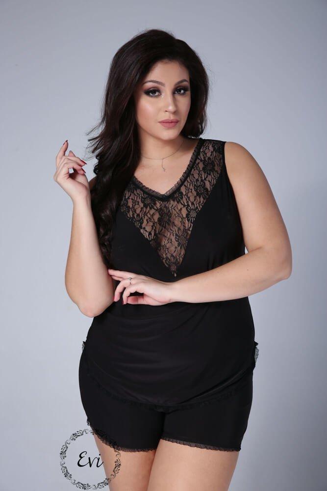 Czarna Piżamka EMMA Plus Size