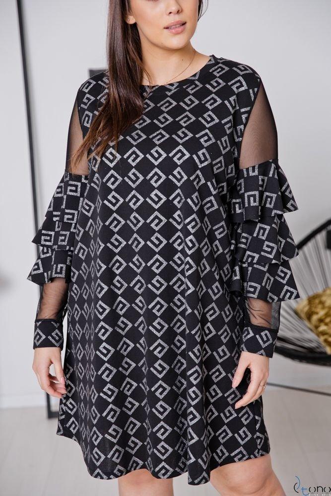 Czarno-Srebrna Sukienka CATIVA Plus Size