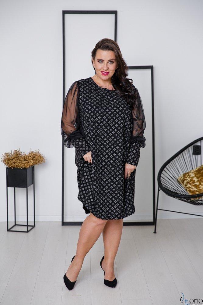 Czarno-Srebrna Sukienka LUSSIE Plus Size