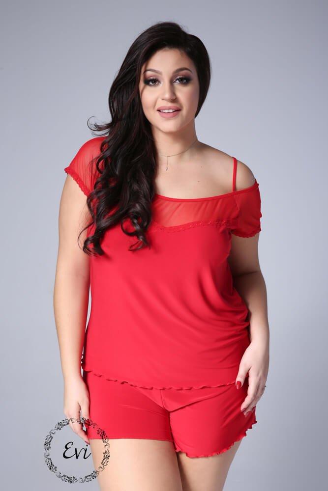 Czerwona Piżamka ZITA Plus Size Hiszpanka