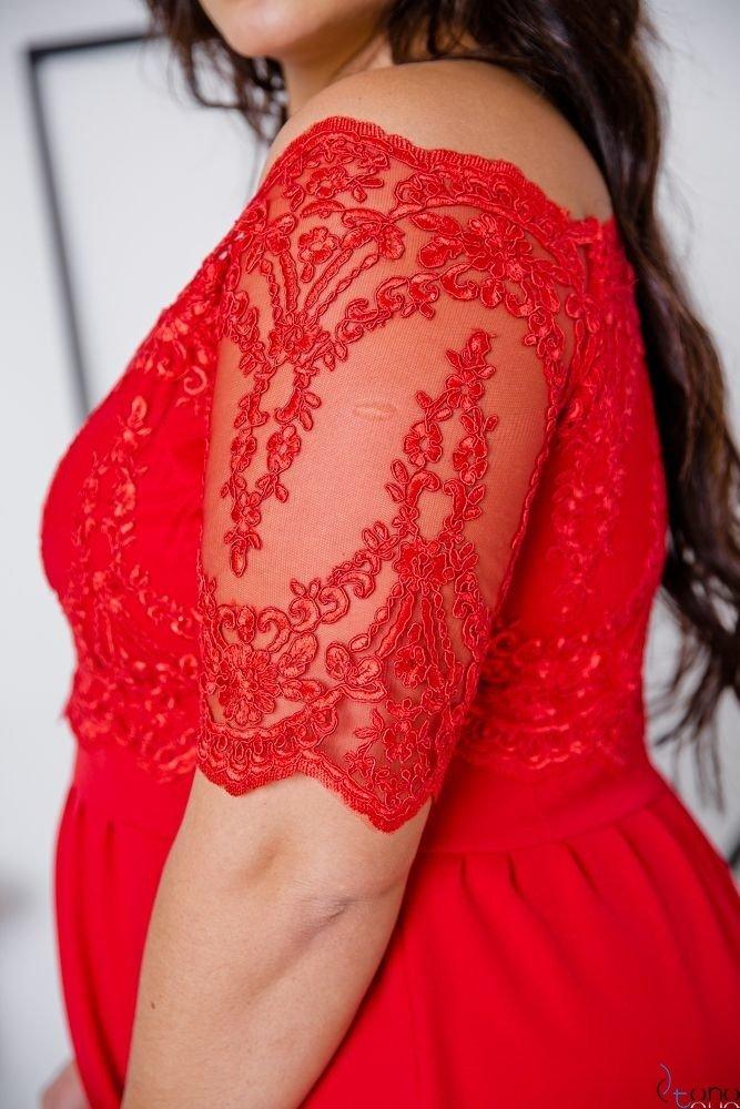 Czerwona Sukienka VITTORIA Plus Size