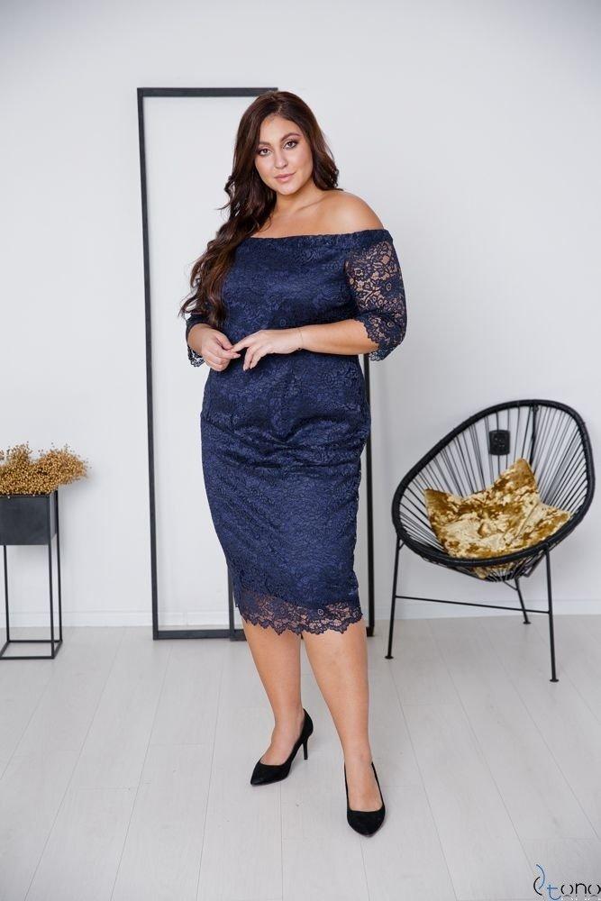 Granatowa Sukienka ADELINA Plus Size
