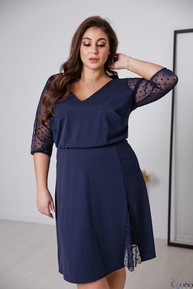 Granatowa Sukienka INGA Plus Size
