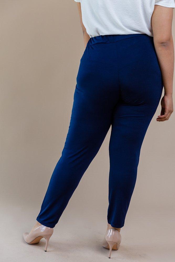 Granatowe Spodnie SPOKEY Zwiewne Plus Size