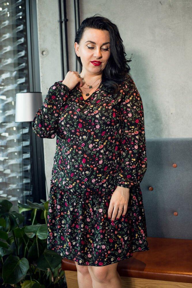 Sukienka TUSSY Falbanka Kwiaty wzór 3