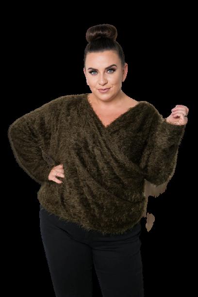 Zielony Sweter FABIOLA Plus Size